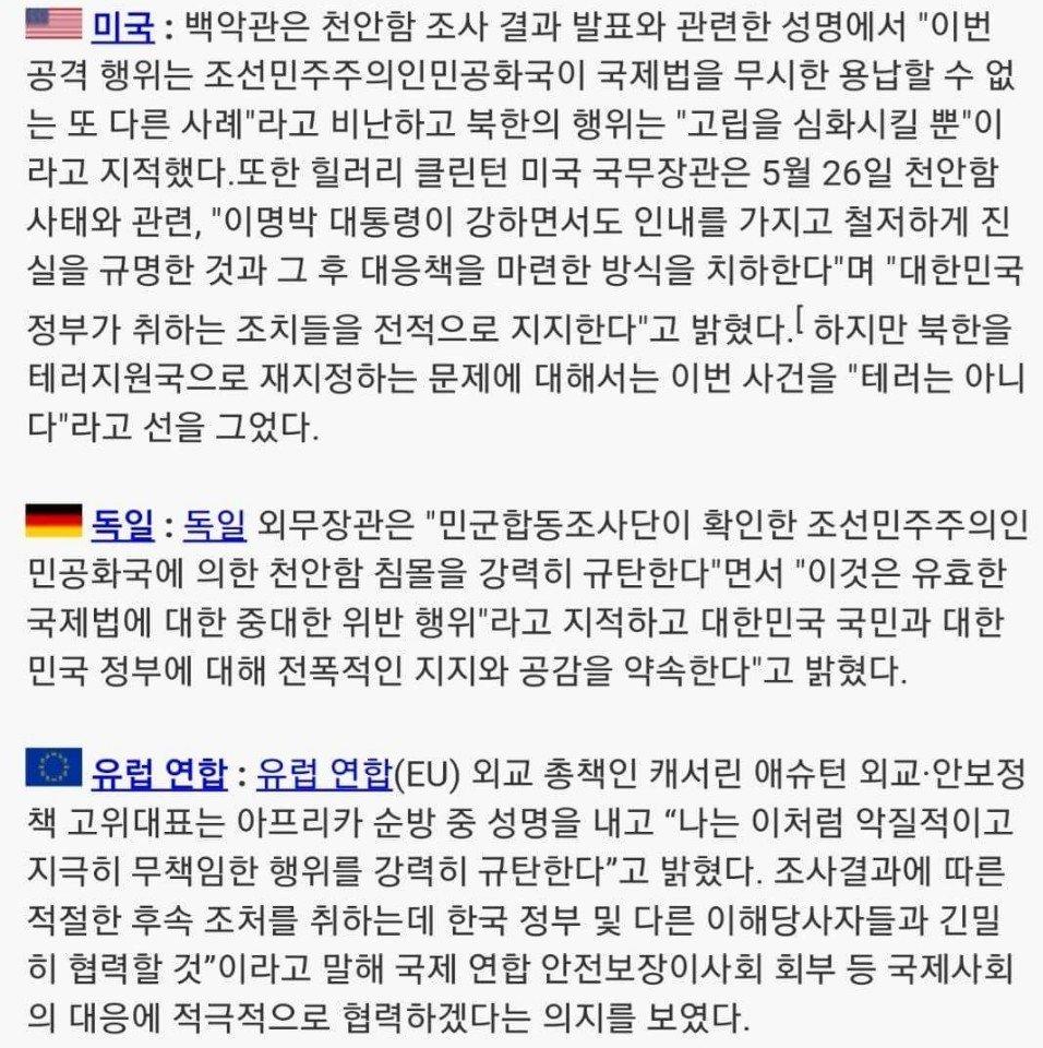 KakaoTalk_20180223_204329774.jpg 천안함 당시 국제사회 성명 천안함 사건 당시 전세계 반응..그리고..결과