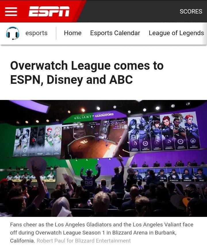 디즈니(ABC, ESPN)와 블리자드 오버워치리그는 스폰서쉽 계약을 맺음.