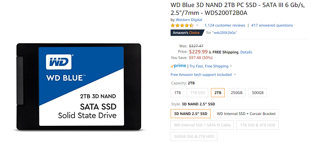 9999.PNG [Amazon] WD Blue 3D NAND 2TB PC SSD ($229.99) (미국내무료)