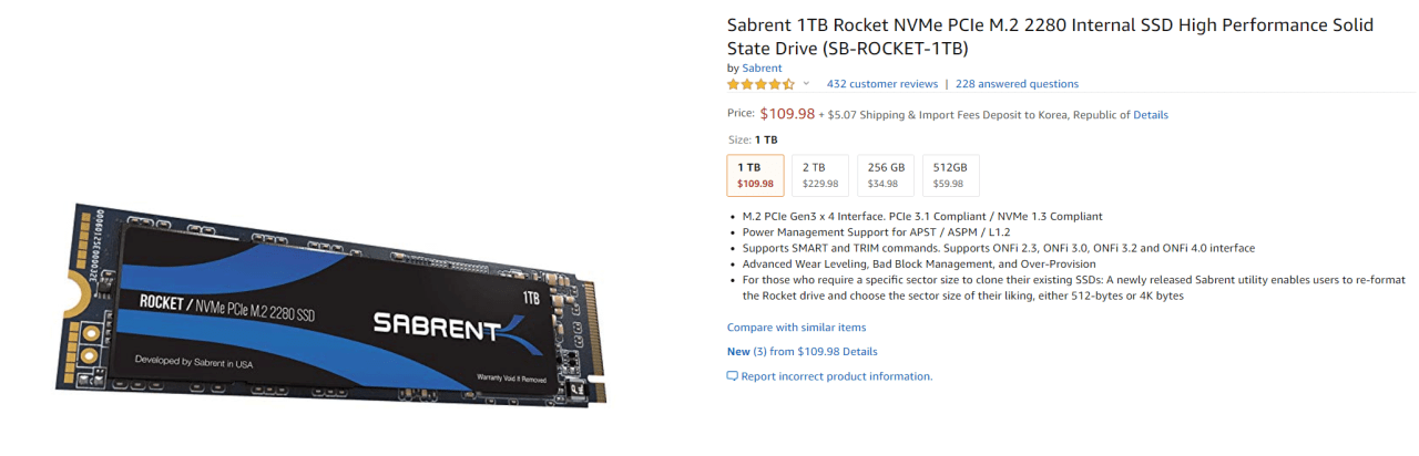 aaaaasad.png [아마존] Sabrent 1TB Rocket NVMe PCIe M.2 2280 Internal SSD High Performance Solid State Drive (SB-ROCKET-1TB) ($109.98) ($5.7)