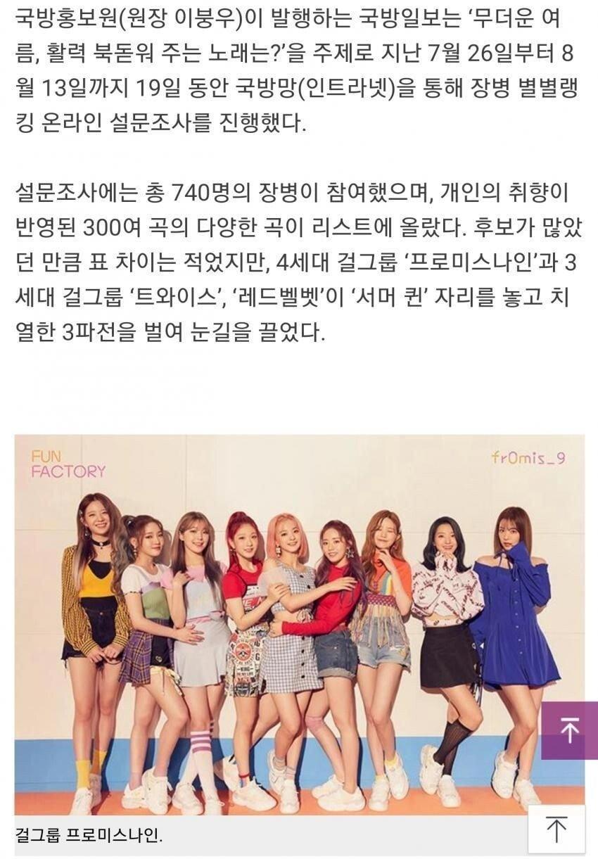 1 (2).jpg 현재 군인들이 좋아하는 걸그룹 노래 TOP 10