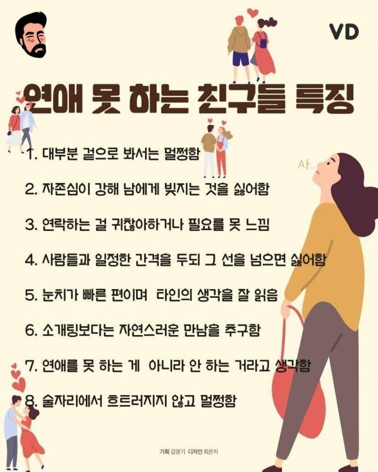 연애 못하는 사람의 8가지 특징