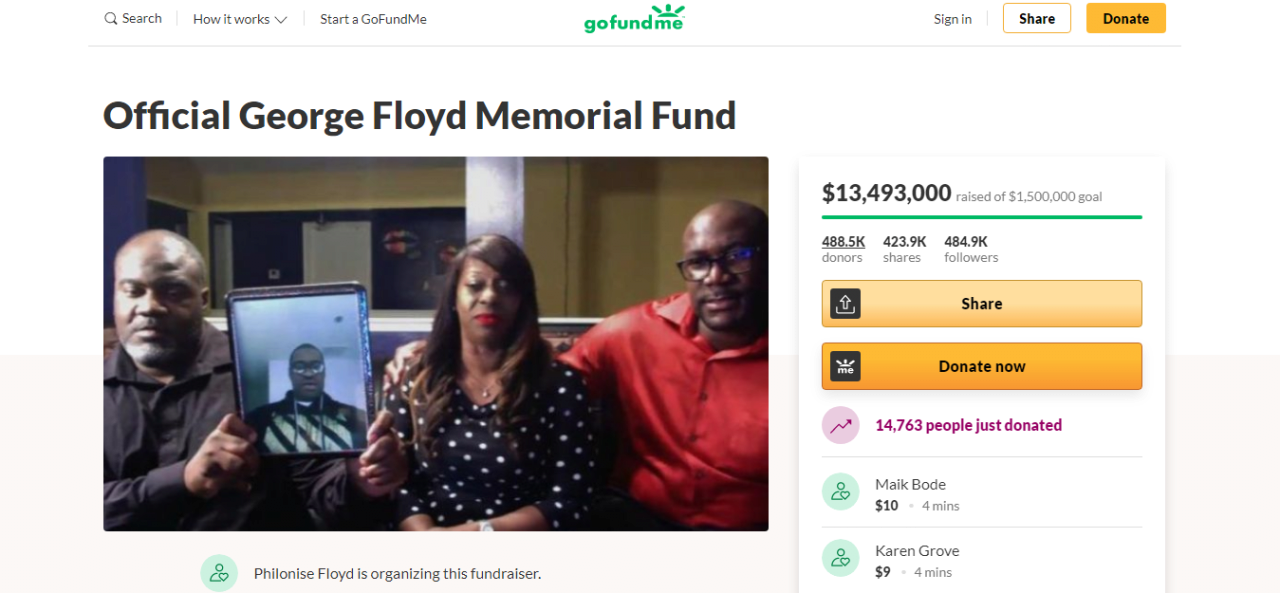 Fundraiser_by_Philonise_Floyd_Official_George_Floyd_Memorial_Fund.png 역대급 기록 찍은 조지 플로이드 모금액 상황