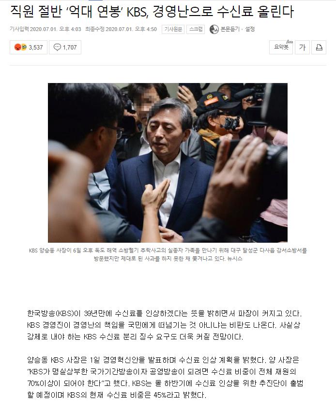 423423424.png 직원 절반 '억대 연봉' KBS, 경영난으로 수신료 올린다