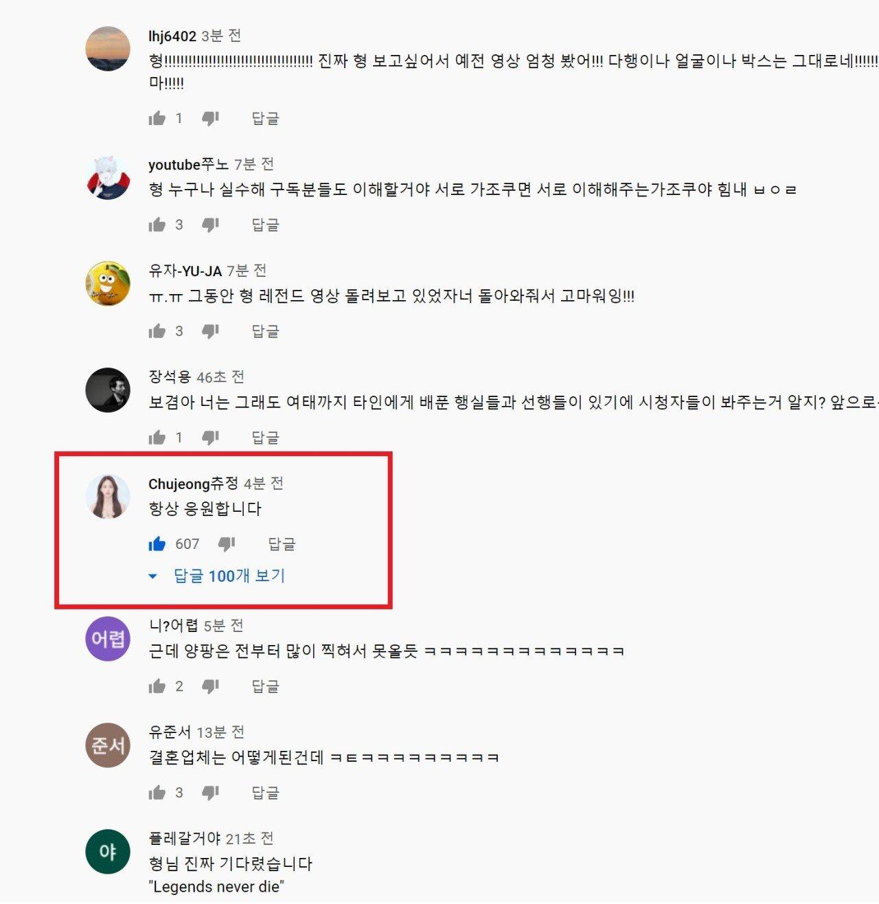 츄정댓글.jpg 보겸 복귀영상에 츄정이 댓글