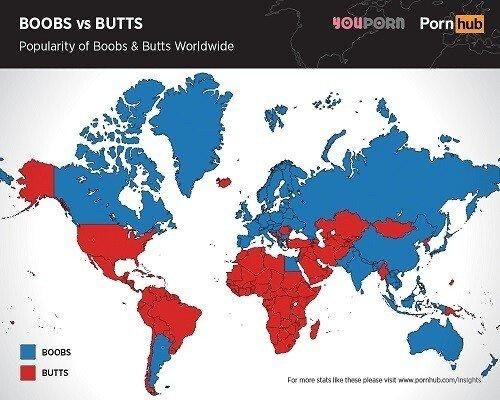 세계 각국이 선호하는 가슴 vs 엉덩이