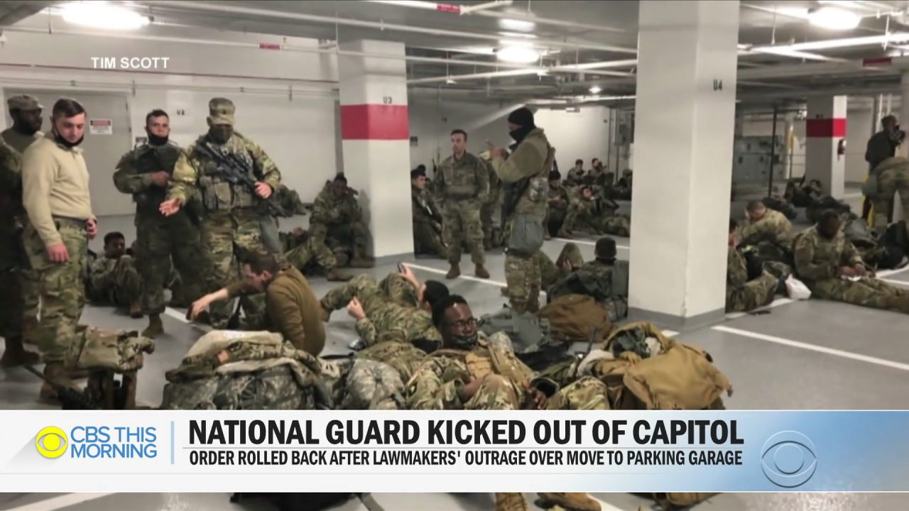 Lawmakers outraged after National Guard moved to parking garage.mp4_000064230.png 바이든 취임식이 끝나자 주차장으로 쫓겨난 미군들