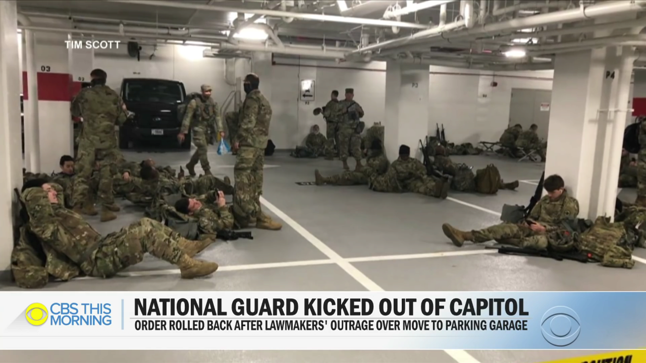 Lawmakers outraged after National Guard moved to parking garage.mp4_000069035.png 바이든 취임식이 끝나자 주차장으로 쫓겨난 미군들